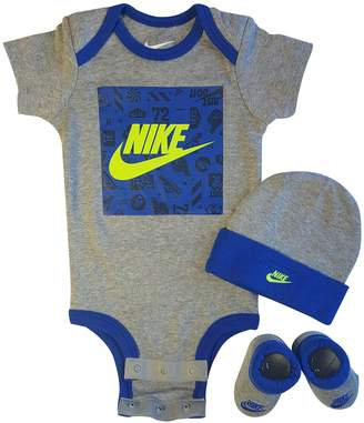 Nike 3 Piece Infant Set for Baby Boy's and Girl's, Bodysuit/Hat/Booties (0-6 Months, )