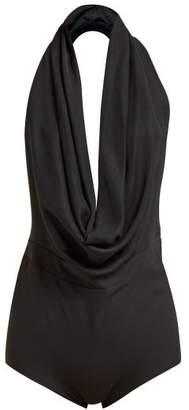 A.W.A.K.E. Mode Michelle Plunge Halterneck Twill Bodysuit - Womens - Black
