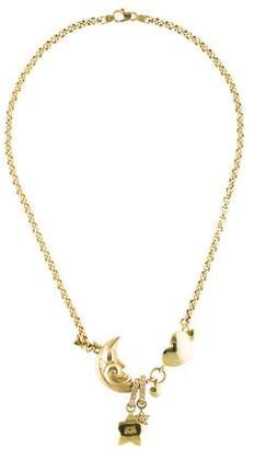 14K Diamond Moon Heart & Stars Collar Necklace