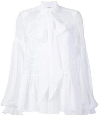 Givenchy lace-embroidered flared blouse