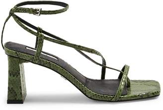 Topshop NICO Snakeskin-Print Set Back Heel Sandals