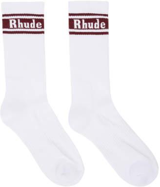 Rhude White and Burgundy Logo Socks