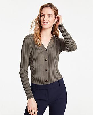 Ann Taylor Ribbed V-Neck Sweater