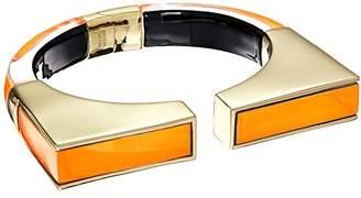 Alexis Bittar Inlaid Geometric Brake Hinge Neon Orange Cuff Bracelet