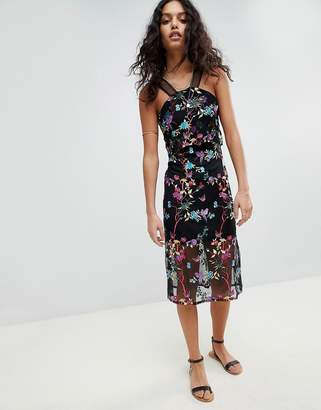 Rd & Koko Embroided Dress With Racer Strap Detail