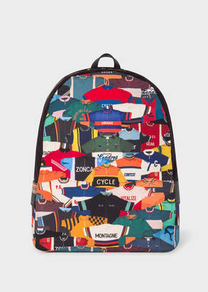 Paul Smith Men's 'Cycling Jersey' Print Canvas Backpack