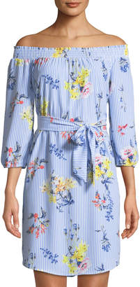 Neiman Marcus Floral/Striped Off-The-Shoulder Belted Dress