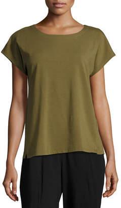 Eileen Fisher Short-Sleeve Bateau-Neck Jersey Top, Petite