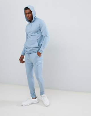Asos DESIGN Tracksuit Muscle Hoodie / Extreme Super Skinny Joggers In Light Blue