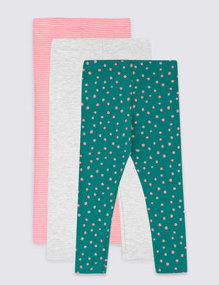 Marks and Spencer 3 Pack Cotton Rich Leggings (3 Months - 7 Years)