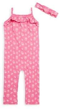 Petit Lem Baby Girl's Two-Piece Printed Playsuit and Headband Set