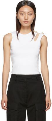 Balmain White Asymmetric 3-Button Tank Top