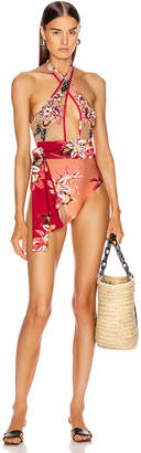 PatBO Embroidered Cross Front Swimsuit in Deep Pink & Nude | FWRD