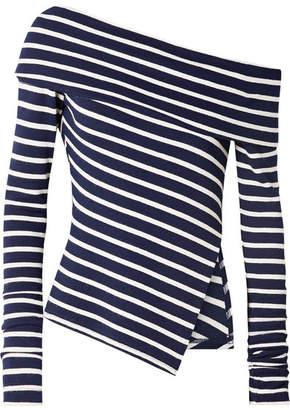 Monse One-shoulder Asymmetric Striped Stretch-jersey Sweater - Navy