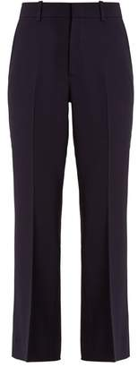 Gucci - High Rise Flared Cropped Stretch Cady Trousers - Womens - Navy