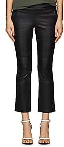 VIS A VIS Women's Leather Crop Kick Flare Pants - Black