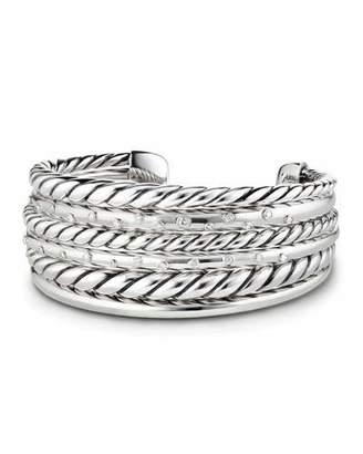 David Yurman Pure Form Silver Multi-Row Cuff Bracelet w/ Diamonds