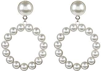 Alessandra Rich Pearlescent Hoop Earrings