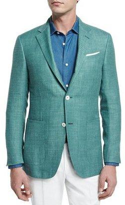Ermenegildo Zegna Solid Half-Lined Blazer, Green $2,495 thestylecure.com