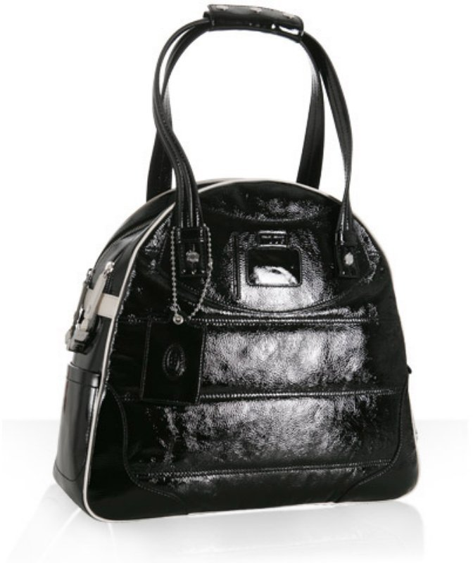 Tod's black crinkled patent 'Madison' bowler bag