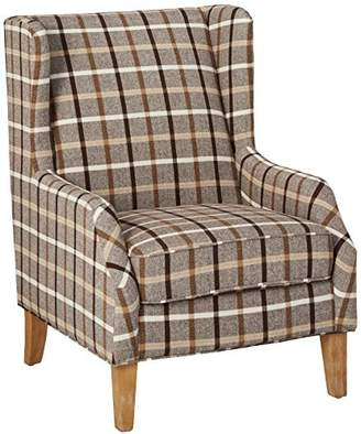 Scott Living Plaid Pattern Chair Grey and White