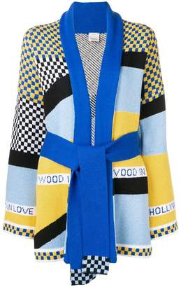 Pinko colour-block belted cardigan