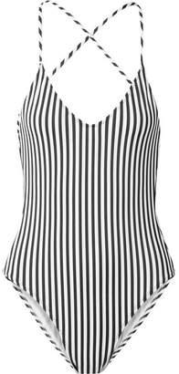 Norma Kamali Fara Slip Mio Striped Swimsuit - Black