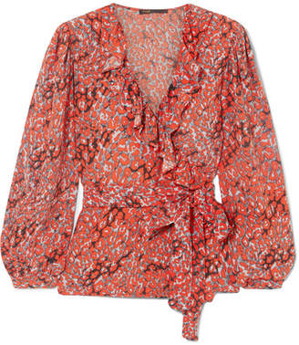 Maje Ruffled Printed Crepe Wrap Top - Coral