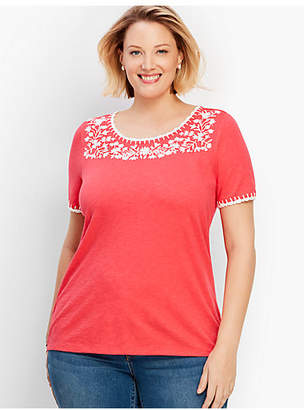 Talbots Embroidered-Yoke Crochet Trim Tee