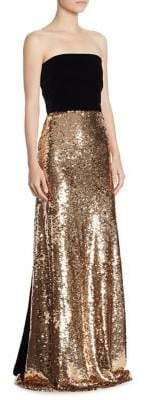 Monique Lhuillier Strapless Sequin Gown