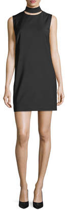 Theory Slit Collar Sleeveless Wool-Blend Dress