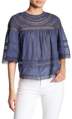 Love Sam Lace Yoke Bell Sleeve Blouse