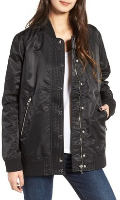 Women's Blanknyc Long Nylon Bomber Jacket $138 thestylecure.com
