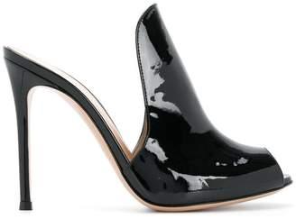 peep toe mule pumps