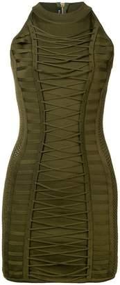 Balmain lace-up detail mini dress
