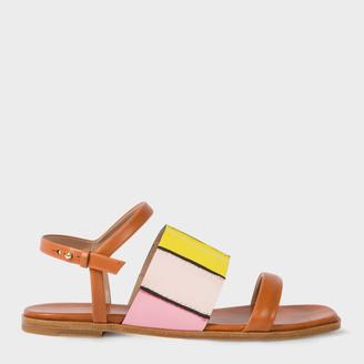 Women's Tan Colour-Block Leather 'Constance' Sandals $475 thestylecure.com