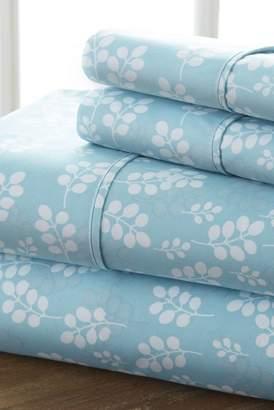 IENJOY HOME The Home Spun Premium Ultra Soft Wheat Pattern 4-Piece Queen Bed Sheet Set - Pale Blue