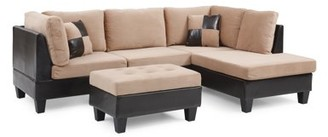 Nathaniel Home Bonded Leather and Champion Ottoman, Tan