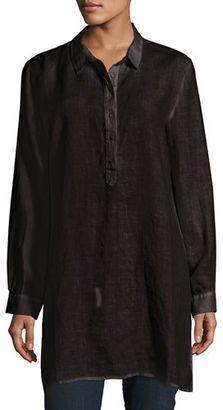 Eileen Fisher Long-Sleeve Collared Henley Linen Tunic, Petite $228 thestylecure.com