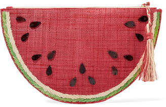 Kayu Frutta Embellished Straw Pouch - Red
