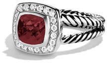 David Yurman Petite Albion Ring with Pyrope Garnet and Diamonds