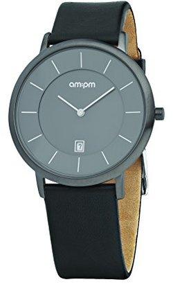 Am.pm. Am : Pmメンズpd107-g046グレーIP鋼ケースブラックレザーストラップクォーツ腕時計Watch