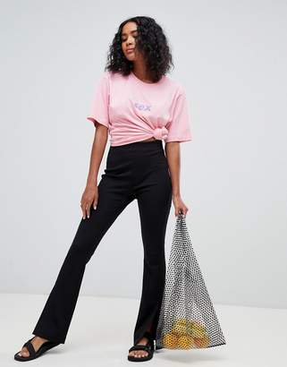Weekday split leg ponte pants in black