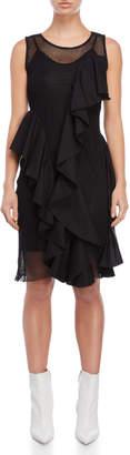 Each X Other Mesh Knit Ruffle Accent Dress