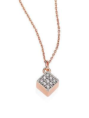 ginette_ny Ever Mini Diamond& 18K Rose Gold Square Pendant Necklace