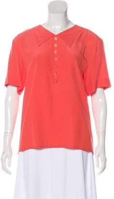 Chanel Collared Short Sleeve Blouse coral Collared Short Sleeve Blouse