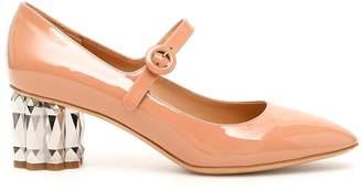 Salvatore Ferragamo Flower Heel Mary Jane Pumps