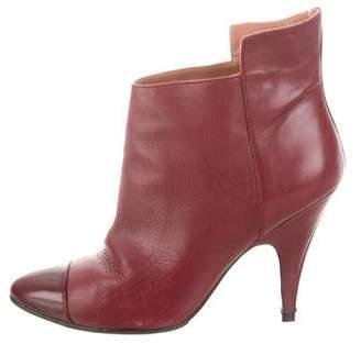 Sigerson Morrison Leather Cap-Toe Ankle Boots