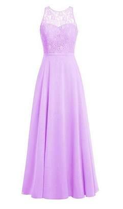 Oumans Women's Crew Neck Lace Bridesmaid Dresses Long Chiffon Prom Gown us18w