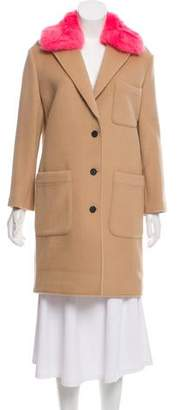 Rebecca Minkoff Faux Fur-Trimmed Knee-Length Coat